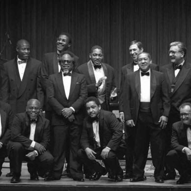 Lincoln Center Jazz Orchestra: 1992 (Standing) Herlin Riley, Art Baron, Reginald Veale, Todd Williams, Sir Roland Hanna, Wynton Marsalis, David Berger, Britt Woodman, Joe Temperley, Wycliff Gordon, Norris Turney, Emory Thompson/Umar Sharif (Kneeling) Milt Grayson, Lou Soloff, Marcus Belgrave, Bill Easley, Jerry Dodgion