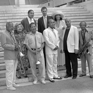 Slide Hampton, Sylvia Sims, Britt Woodman, Jon Hendricks, Tommy Flangan, Jimmy Heath (2nd row) Wynton Marsalis, David Berger Abbey Lincoln